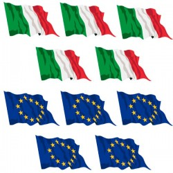 Set 10 bandiere Italia Europa